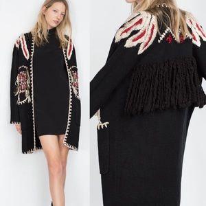 Zara Knit | RARE Black Embroidered Fringe Cardigan